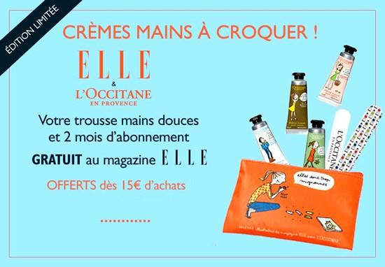 trousse elle - l'occitane : crèmes pour les mains et abonnement