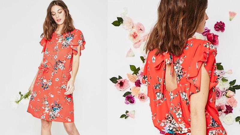 Robe rouge à fleurs Promod